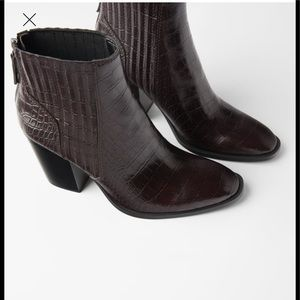 Zara  animal  embossed wide heeled  ankle boots